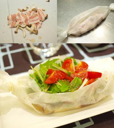 きのこの香り立つ トマトと水菜の紙包みサラダ