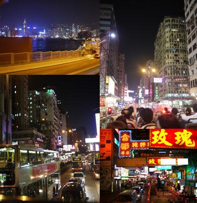 オープントップバスで香港の街を