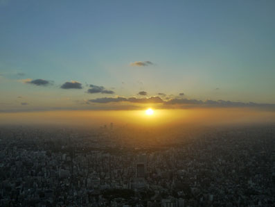 沈む太陽と対峙する