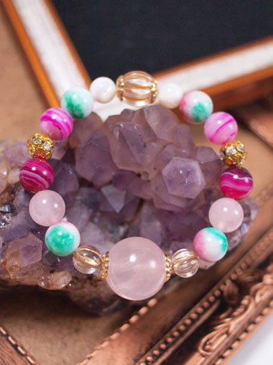 power stone jewelry bracelet -rose-