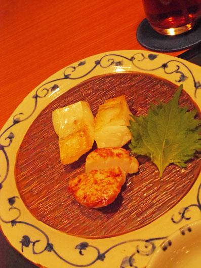 カワハギとホタテ貝のソテー