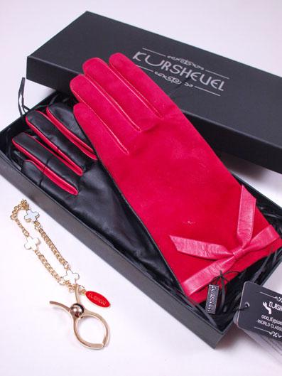 KURSHEUEL スマホ対応羊皮ピンクスエード×黒革セミオーダー手袋