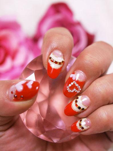 赤×アイボリー ダブルフレンチ ハートのバレンタインネイル