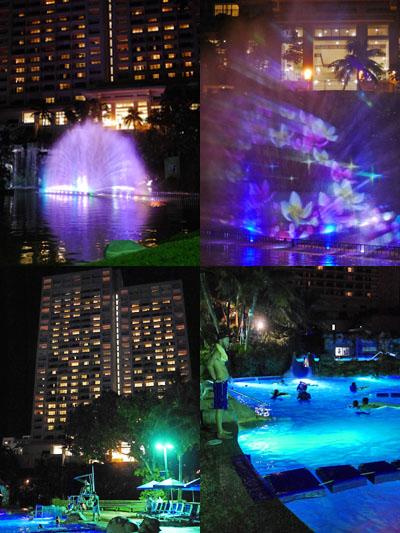 噴水ショーと夜プール