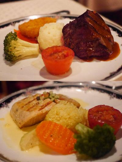 牛フィレ肉とサーモン