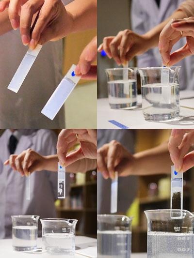 こすらなくても石鹸水だけで落ちる実験
