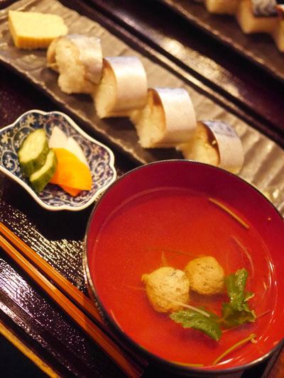 つみれ汁と極上さばの棒寿司