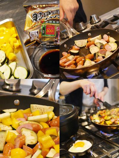 ソーセージと夏野菜のガパオ風