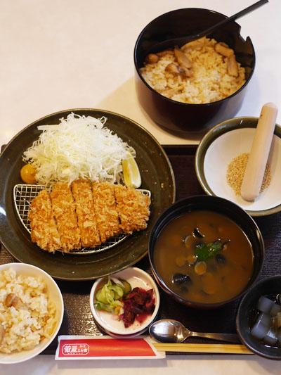松茸ご飯と群馬県産ロースカツ膳