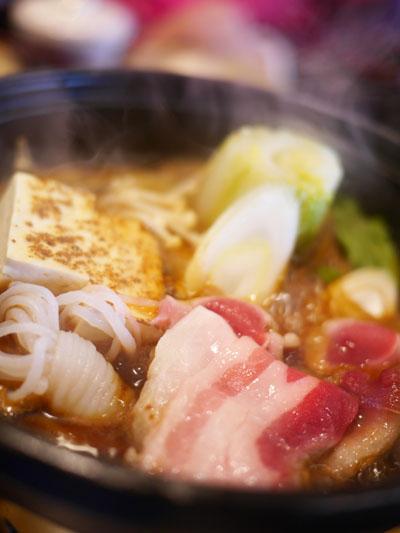 イノシシのすき焼き風鍋
