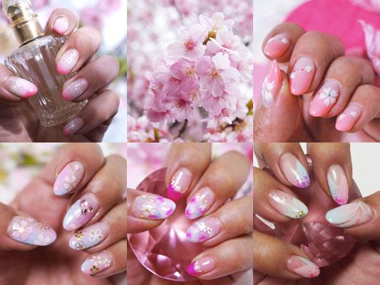 チークネイルをベースに桜アート