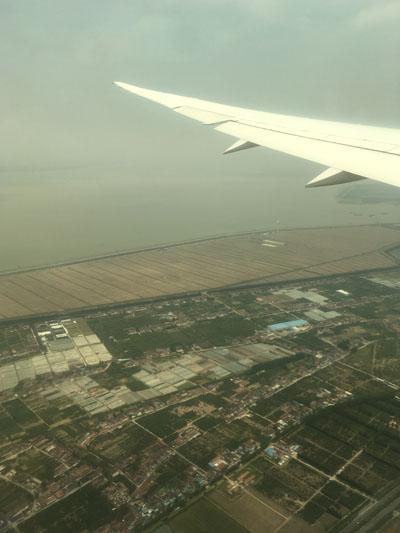 JAL 日本航空 成田中国便 窓からの上海