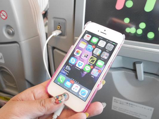 JAL 日本航空 成田中国便 機内でUSB充電が可能