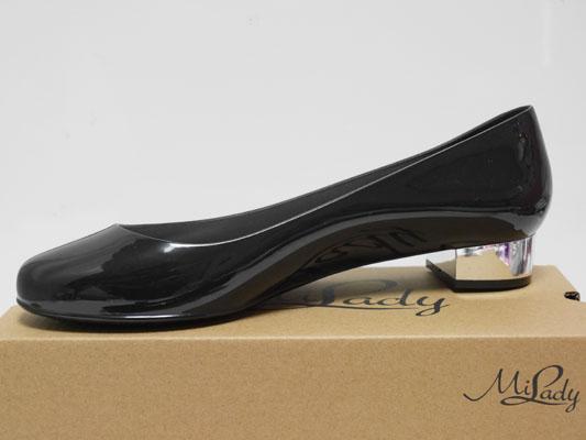 イマージュ レインパンプス 黒 雨靴 PVC ビニール素材