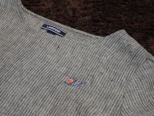 イニシャル刺繍でカスタマイズが出来るランズエンドのシャツ 口コミ レビュー