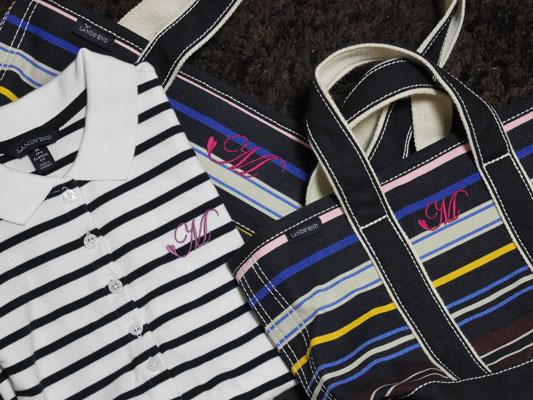 ランズエンド ポロシャツとバッグをオソロイの刺繍で