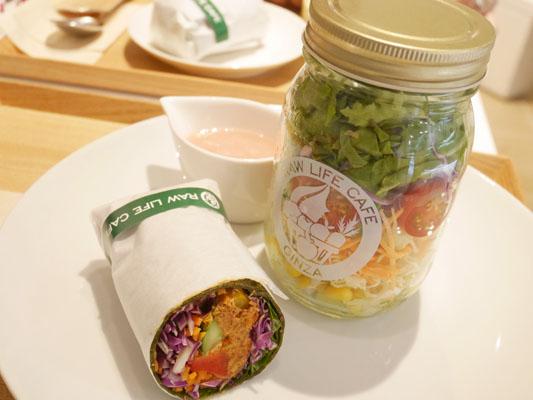 銀座ローライフカフェ Rawジャーサラダ、Rawラップサラダ