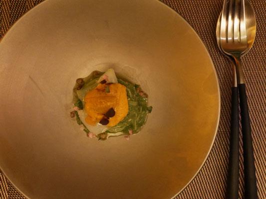 広尾 海栗バー つきひ 生雲丹と地葱ジェノベーゼ 冷製カッペリーニ