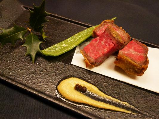 東銀座 和食 料亭レストラン 花蝶 揚物〜フライド和牛〜