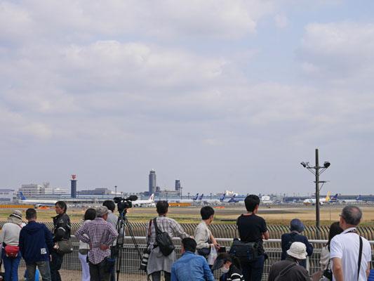 飛行機と桜 成田さくらの山公園 混雑