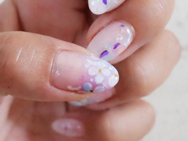 6月のネイル 紫陽花 デザイン