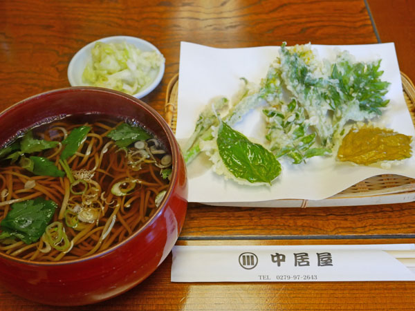 中居屋重兵衛 嬬恋 ランチ 珍しい山菜天ぷらそば