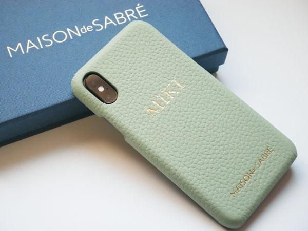iPhone XS スマホケース イニシャル刻印 プレゼント