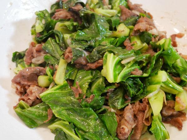 神戸のハニーケールと牛肉の炒め物