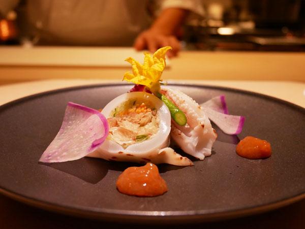 銀座 和食 結絆(ゆいな) 日本一の朝ごはん 白烏賊の繊切り野菜印籠詰め